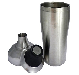 Three-part stainless steel shaker
