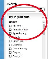 Cocktail-Rezepte Suche: Meine Zutaten