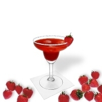 Strawberry Margarita served in Maragitas glass