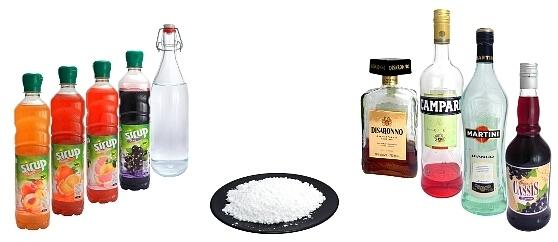 Liqueur, syrup and sugar powder