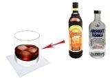 Preparación de Black Russian: Mezclar vodka y licor de café
