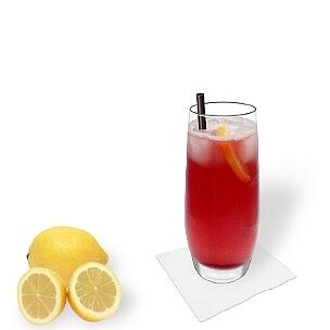 Long Beach Ice Tea servido en un vaso largo, es la manera más común de presentar esta bebida para fiestas.