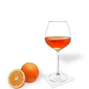 Aperol Spritz you serve in champagne or wine glasses with an orange slice.