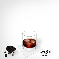 Black Russian in a tumbler glass.