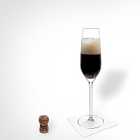 Black Velvet in a champagne glass.