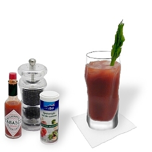 All kind of long-drink glasses are ideal for Bloody Mary.