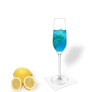All types of champagne glasses fit well with Blue Champagne.