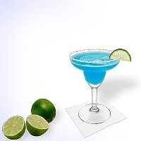 Blue margarita served in a margarita glass with lime slice a sugar or salt rim.