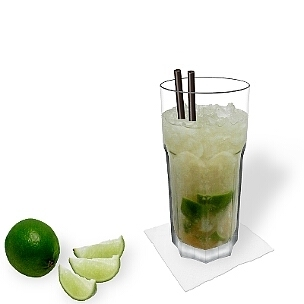 Caipiroska served in a Gibraltar glass, the most common way of presenting that delicious summer cocktail.