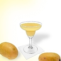 Frozen Mango Margarita served in a margarita glass with a sugar or salt rim.