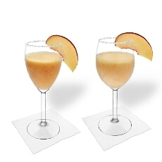 Peach margarita in a white wine glass and red wine glass