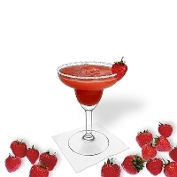 Frozen Strawberry Margarita served in a margarita glass with strawberry decoration and a sugar or salt rim.