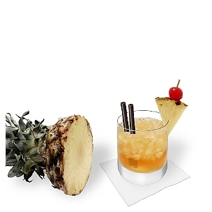 Mai Tai served in a whiskey glass, the most common way of presenting that delicious rum cocktail.