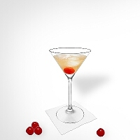 Manhattan in a martini glass.