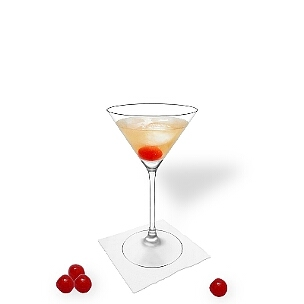 Manhattan served in a Martini glass with a cocktail cherry, the most common way of presenting that spicy cocktail.