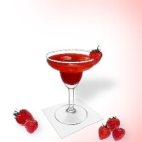 Strawberry Margarita served in a margarita glass with strawberry decoration and a sugar or salt rim.