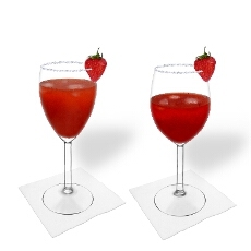 Strawberry Margarita in a white and red wine glass