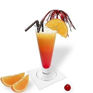 Tequila sunrise served in a long-drink glass, another stylish option for Tequila Sunrise.