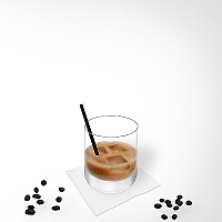 White Russian in a tumbler glass.