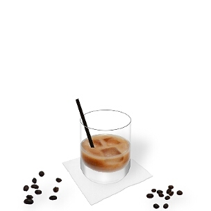 White Russian served in a whiskey glass with a long-drink stick, the common way of presenting that delicious winter cocktail.